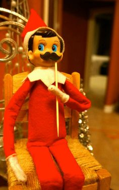 Arthur poses with a 'stache for his photo op! (He also left a note for the boys that he's sorry he wasn't able to make it to their birthday Mustache Bash.) #elfontheshelf #mustache