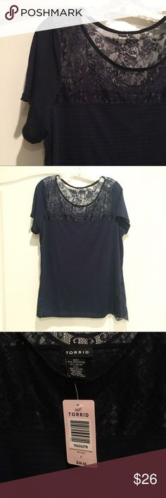 NWT Torrid Dark Blue Lace and Stripped Top New With Tags short sleeve top with stripes and beautiful lace details. Color is a dark navy blue but it was hard to photograph. torrid Tops Blouses