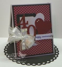 40th Anniversary card using Stampin' Up! products, Debbie Henderson, Debbie's Designs.