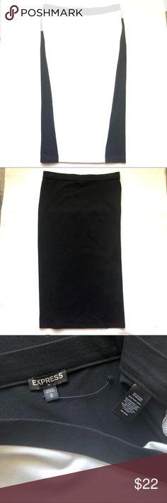 Express Midi Stretch Color Block Skirt NWOT Medium NWOT Black and White stretch skirt Express Skirts Midi