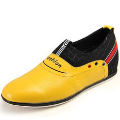 Yellow  lifts for mens shoes 6cm / 2.36inch with the SKU:MENGOG_73739 - Korean yellow enhancing height shoes add altitude 6cm / 2.36inches fashion slip-on leisure shoes