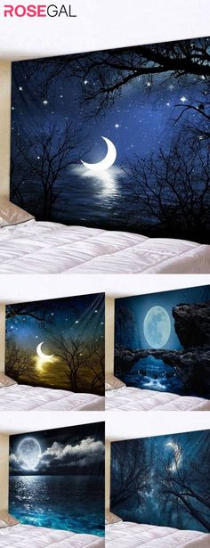 Rosegal decor wall tapestry, moon printed wall tapestry easy home decor #Rosegal #Rosegal #tapestry #moon
