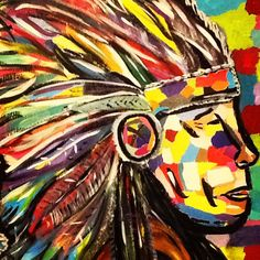 16x20 mixed media Indian Chief on canvas Lindsey Johnson #sold