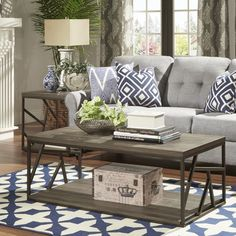 Lincoln Metal Contemporary Distressed Wood Coffee Table or Side Table by TRIBECCA HOME