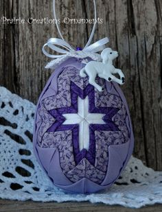 Easter Lamb Egg Ornament Quilted Purple and by MyPrairieCreations, $18.00
