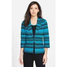 Ming Wang Wing Collar Stripe Jacquard Knit Blazer ($272) ❤ liked on Polyvore