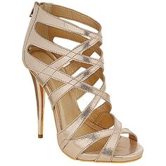 liliana Iris-6 Multi Strap Single Sole Sandal Heel (29 AUD) ❤ liked on Polyvore featuring shoes, sandals, gold, gold dressy shoes, gold wedge heel shoes, fancy footwear, gold sandals and wedge shoes