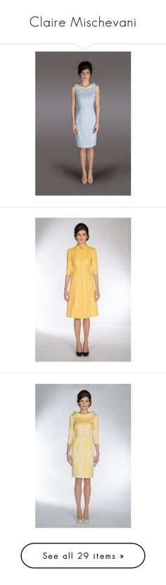 """Claire Mischevani"" by immortal-longings ❤ liked on Polyvore featuring dresses, pastel dress, blue day dress, pastel blue dress, blue dress, outerwear, coats, yellow coats, white coat and a-line coats"