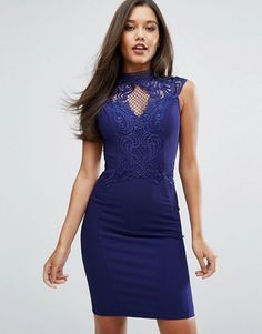 Michelle Keegan Loves Lipsy High Neck Embroidered Lace Bodycon Dress