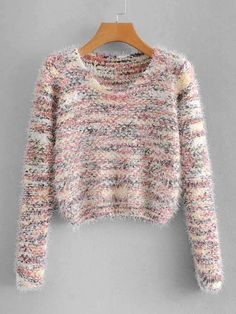To find out about the Marled Fluffy Sweater at SHEIN, part of our latest Sweaters ready to shop online today! Girls Fashion Clothes, Teen Fashion Outfits, Trendy Fashion, Vintage Fashion, Casual Skirt Outfits, Fall Outfits, Cute Outfits, Sweater And Shorts, Sweater Outfits