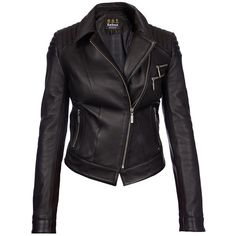 Women's Barbour International Farleigh Leather Jacket - Black (930 AUD) ❤ liked on Polyvore featuring outerwear, jackets, leather jacket, leather biker jacket, cropped leather jackets, motorcycle jacket, biker jacket and moto biker jacket