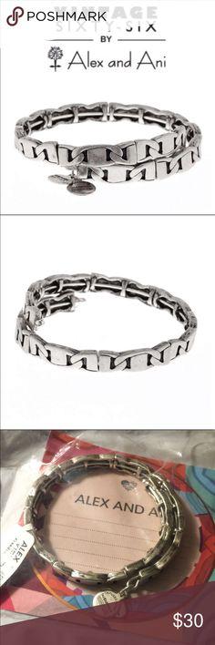Freedom Wrap Bracelet Rafaelian silver finish link wrap bracelet. Color is Silver. Alex and Ani Jewelry Bracelets