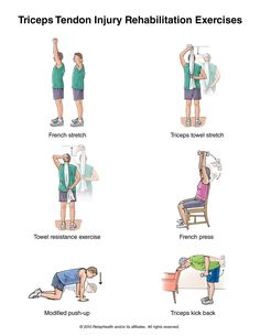 Triceps Tendon Injury Exercises: http://www.summitmedicalgroup.com/library/adult_health/sma_triceps_tendonitis_exercises/