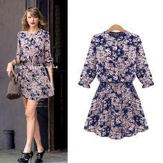 'Nana' Floral Graphic Print Dress