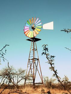 Windmill for pumping water against blue sky in southern Arizona, stock taken from dreamstime. Farm Windmill, Garden Windmill, Windmill Art, Windmill Blades, Blowin' In The Wind, Wind Of Change, Metal Clock, Metal Wall Art, Roman Clock