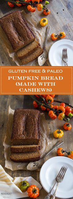 This Pumpkin Bread is cashew based which gives it a very warm & soft nutty flavor. It's absolutely heavenly & moist too! The recipe is gluten free paleo! Paleo Pumpkin Bread, Pumpkin Recipes, Paleo Bread, Gluten Free Coffee Cake, Best Gluten Free Recipes, Gluten Free Breakfasts, Breakfast Cake, Holiday Baking, Fall Baking
