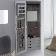 Belham Living Lighted Locking Quatrefoil Wall Mount Jewelry Armoire - High Gloss Gray - Womens Jewelry Boxes at Hayneedle Jewelry Armoire Ikea, Mirror Jewelry Storage, Wall Mounted Jewelry Armoire, Jewelry Closet, Wall Mount Jewelry Organizer, Jewelry Wall, Jewelry Cabinet, Jewellery Storage, Home Decor Bedroom