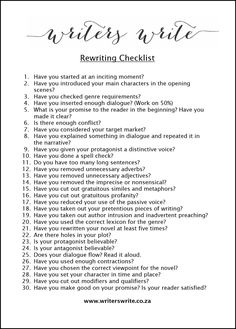 Creative Writing 334181234849823216 - Rewriting Checklist For Authors – Writers Write Source by missileguedes Book Writing Tips, Writing Promps, Creative Writing Prompts, Writing Words, Fiction Writing, Romantic Writing Prompts, Creative Writing Inspiration, Persuasive Writing, Writing Checklist