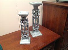 Goodwill candlesticks transformed with ASCP Duck Egg and Martha Stewart metallic glaze.