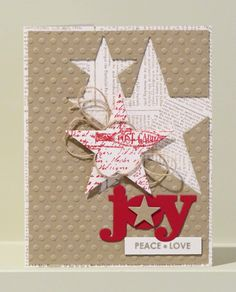 Joy, Peace, Love - Scrapbook.com - Lovely card featuring a beautiful stamped background, die cutting and embossing.