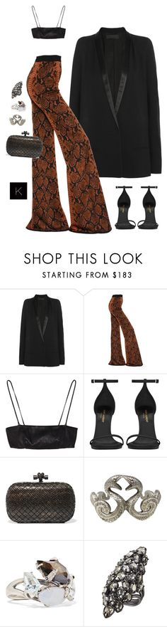 """Untitled #4090"" by kimberlythestylist ❤ liked on Polyvore featuring Haider Ackermann, Balmain, Yves Saint Laurent, Bottega Veneta and Alexis Bittar"