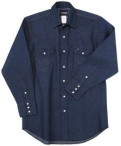Work Shirt - Wrangler® Rigid Denim Long Sleeve Big & Tall Workshirt
