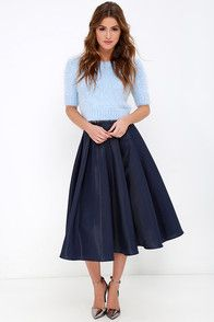 Without Question Navy Blue Midi Skirt at Lulus.com!