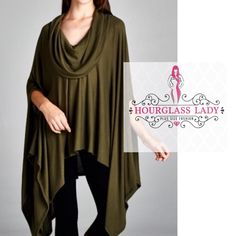 Trendy Olive Cowl Neck Poncho Trendy Olive Cowl Neck Poncho  Available in Olive  Hacci fabric (soft, stretchy brushed jersey)  Asymmetrical hem, arm holes  One Size - will fit everyone!❤️  88% rayon, 9% polyester, 3% spandex  New boutique item, no tags  Price firm unless bundled Create a bundle for 15% off! Thanks for looking✌️❌NO TRADES❌ Hourglass Lady Sweaters Shrugs & Ponchos