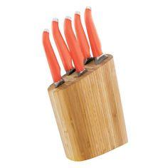Rachael Ray 6-Piece Bamboo Knife Block Set, $115