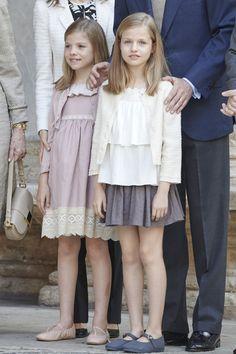 Infanta Leonor, Princess of Asturias, and Infanta Sofía. Spanish Royals Attend Easter Mass in Palma de Mallorca on April 5, 2015