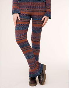 Pull&Bear - femme - pantalons - pantalon rayé patte d'éléphant - terre-cuite - 09682359-I2015