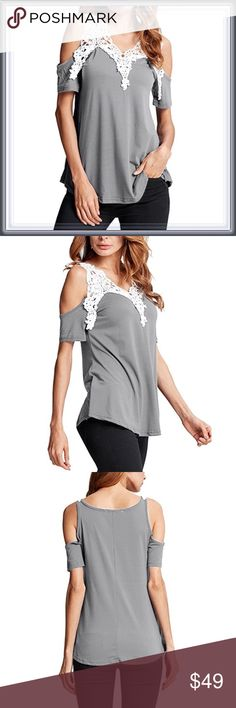 🆕 Lace Cold Shoulder Gray Top ➖SIZE: Small, Medium, Large, XL/ 1X , 2X  ➖STYLE: A white Lace Cold Shoulder gray top    ❌NO TRADE   # off the shoulder Tops Blouses