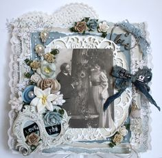 Card by LLC DT Member Eulanda Silvey, using papers from Pion Design's Flower Frames collection.