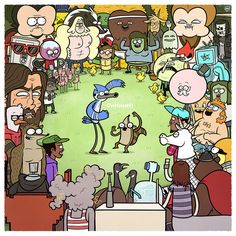 'Adventure Time' & 'Regular Show' Group Art Exhibit at Mondo Gallery in Austin, Texas Regular Show, Mordecai Y Rigby, Comic Collage, Cartoon Network Shows, Comic Manga, Adventure Time Finn, Cartoon Crossovers, Cartoon Characters, Group Art