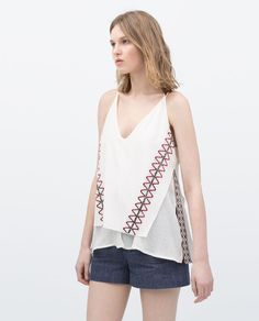Image 1 of TANK TOP WITH ETHNIC  EMBROIDERY from Zara