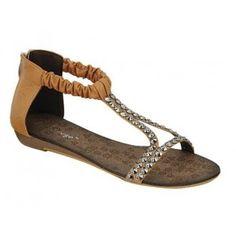AMPLY-2 Women Ankle/T Strap Sandal - Light Brown