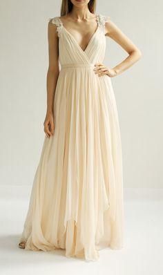 Sample Sale  blush Lace and silk Wedding Dress Lana Gown