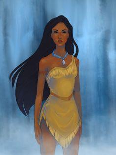 Just around the riverbend by ~BakaAya on deviantART. Pocahontas is my fav! Princess Pocahontas, Pocahontas Costume, Disney Pocahontas, Disney Princess Art, Disney Fan Art, Disney Love, Disney Dream, Disney Magic, Pocahontas Pictures