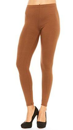 Just One Women's Full-Length Soft Peach Skin Leggings (Dk...