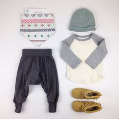 Sunday #ootd featuring the harem pants, ball tee, love beanie, moccs and #mawdsleyloves hanky bib
