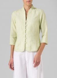 Linen Fitted Mandarin Collar Jacket Lime