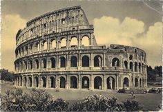 Lost Greetings: Roma 1950s - Postcard of the Colosseum in Rome. Go to the LOST GREETINGS for the sender's message on the reverse side. #vintage #postcard #landmark #italy