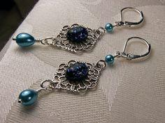 Steampunk Earrings Peacock Blue Green Pearl by TitanicTemptations