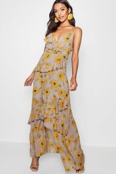 5a52d85ad46b6 Click here to find out about the Lydia Floral Ruffle Detail Maxi Dress from  Boohoo,