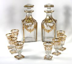 Fine 19th C. French Baccarat Crystal 2 Decanter & 8 Cordials Liqueur Service, Set