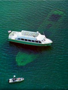 Glass bottom boat shipwreck tour, Marquette. Pictured Rocks lakeshore
