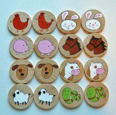 Memory Game, Farm Animals, Waldorf toy, Game