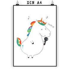 Poster DIN A4  Einhorn Sänger aus Papier 160 Gramm  weiß - Das Original von Mr. & Mrs. Panda.  Jedes wunderschöne Poster aus dem Hause Mr. & Mrs. Panda ist mit Liebe handgezeichnet und entworfen. Wir liefern es sicher und schnell im Format DIN A4 zu dir nach Hause.    Über unser Motiv  Einhorn Sänger  Ein Einhorn Edition ist eine ganz besonders liebevolle und einzigartige Kollektion von Mr. & Mrs. Panda. Wie immer bei unseren Produkten sind alle Motive handgezeichnet und werden mit viel…