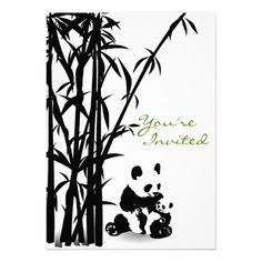 #Panda Bears and #Bamboo #Baby #Shower #Invitation #zazzle #animals #wildlife #EndangeredSpecies