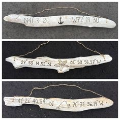 Completely custom, hand engraved driftwood sign. Personalize with the coordinates for a home, vacation, destination wedding, or any meaningful location AND a custom engraved image between (i.e. Anchor, Sailboat, Compass, a state, country, island, lake or other custom image). This listing is for a single (one) driftwood sign. Multiple sizes available from the dropdown menu and additional sizes available via custom quote. Each hanging driftwood sign is drilled and strung with durable twine for…